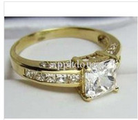 Couple Rings man made diamond - STUNNING TOP PRINCESS CUT MAN MADE DIAMOND ENGAGEMENT RING K SOLID YELLOW GOLD