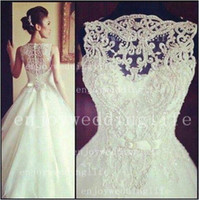 Wholesale 2014 Sexy New Sleeveless A Line Tullle Wedding Dresses Applique Beaded Court Train Bridal Gowns With Buttons Back BO3039