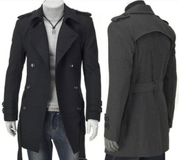 Wholesale 2 New Fashion Slim Fit Men Casual Trench Coat Mens Double Breasted Winter Coats Mens Man Wool UK Style Outwear Overcoat Black Grey
