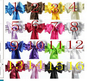 Wholesale High Quality Wedding Satin Ribbon Chair Cover Sashes and Party Banquet Decor Bow Multi Color Hot Sale Wedding Chair Sashes