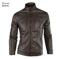 Wholesale 2013 European American fashion men s autumn winter jacket leather jacket mandarin collar motorcycle jacket M XXL