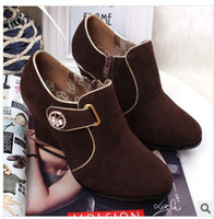 Ankle Boots Rivet Boots PU New winter European and American white-collar women's shoes and boots naked OL high-heeled deep mouth single short boots shoes wholesale