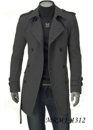 Wholesale 2014 New Men s Slim Casual Fashion long woolen Trench Coats Coats Overcoat