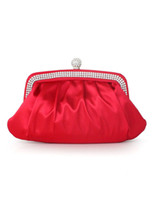 Clutch Bags Women Metallic Elegant Red Pleated Glitter Satin Women's Clutch Bag envelope #u6-18sI