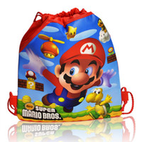 Wholesale Mixed styles Super Mario Bros Cartoon Drawstring Backpack Kids Bags Handbags Kids School Shopping Bags Non woven Party Favor