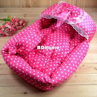 Wholesale Pet dog princess bed cat kennel with pink color white dot SIZE CM CW0174