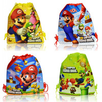 Wholesale 12Pcs Super Mario Bros Cartoon Drawstring Backpack Kids Bags Handbags Kids School Shopping Bags Mixed Styles Non woven Party Favor
