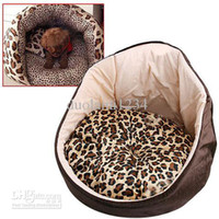 Wholesale Trendy Panther Prints Plush Hoodie Hoody Pet Bed with Removable Pet Pad for Dog Cat Ferret Brown free shiping