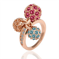Wholesale New Fashion Jewelry K Rose Gold Plated D Ball Austrian Crystal Ring gemstone rings k gold rings