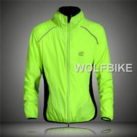 Breathable Unisex Polyester Tour de France Cycling Wind Coat Rain Coat Long Sleeve Jersey Professional Windbreak Shirts Jacket Bicycle Bike Cycle Wear Green
