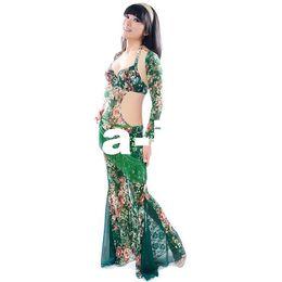 Wholesale 4 lace one piece belly dance costume set clothes