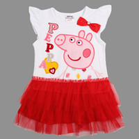 TuTu Summer tutu New Nova Kids party dress 18m-6y baby girls cupcake dress cartoon Peppa Pig clothes summer white dress lace cotton princess dress