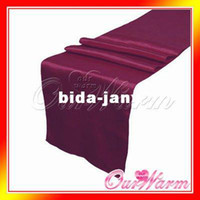 Wholesale Burgundy Wine Ruby Red Grape quot x108 quot Satin Table Runners Wedding Party Banquet Decoration Many Colors Hot