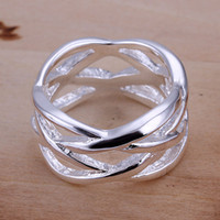 Wholesale New Women Sterling Silver Net Filigree Fashion Solid Ring silver ring silver