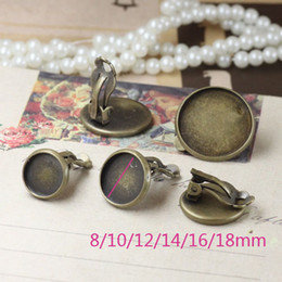 Wholesale Antique Bronze Plated Earring Clips Bezel Earring Blank mm Cameo Base Cabochon Setting Ship by EMS