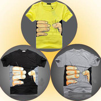 Wholesale New Men s Lovers Polyester Cotton Blend Funny Big Hand Grab Printed Short Sleeve Summer Novelty T Shirt TOP