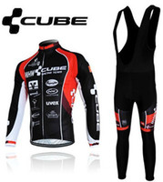 Wholesale Winter thermal fleece cycling jersey Black Cube Long Sleeve Cycling Jerseys Cycling Bib Pants Set winter cycling clothing