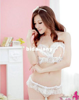 Babydoll Lace  Wholesale - Free shipping solid color sex lingerie Bra+underwear latex underwear