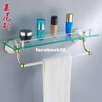 bar glasses wholesale - Copper roast white paint cosmetic rack glass shelf towel bar towel rack gold