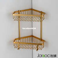 Wholesale Gold wire drawing aluminum space double layer trigonometric basket shelf bathroom shelf