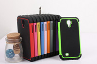 Wholesale 100PCS TPU PC camos oTterings box case for Samsung Galaxy S4 with Retail Box and Clip