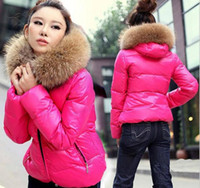 Wholesale 2014 New Arrival Korea Fashion winter Casual Warm Brief paragraph Women s Large collars candy color thicken hooded Slim Coat cvz