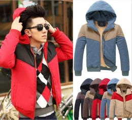 Wholesale 2014 New Fashion Men s Winter Warm Coat Casual Spell color warm up Slim Men s Cotton padded clothes vcx
