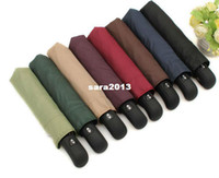 Wholesale 3 fold umbrella automatic umbrella windproof rainproof business men umbrella