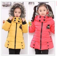 Wholesale Girls Jacket and Coats for Winter Brand Autumn Fur Collar Children Clothing Thicking Down Outwear Kids Overcoat Retail