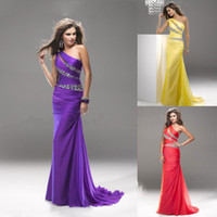 Model Pictures One-Shoulder Chiffon 2014 Latest Brand New Backless Sexy A-Line Chiffon Prom Party Cocktail Dresses 2013 Crystal Evening Gowns One-Shoulder Sleeveless Sequins