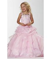 Wholesale Strapless Bandage Spaghetti strap Pink Girls Pageant Dresses Ball Gown Floor length Rhinestone Sleeveless P20131010