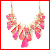 Wholesale Shiny Dress Jewelry Color Spiral Combined Pendant Necklace Fashion Style Wedding Party Necklaces