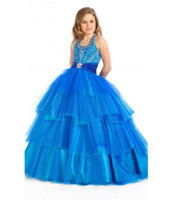 Wholesale Girls Pageant Dresses Beautiful Tiered Halter Blue Ball Gown Net Yarn Floor length Rhinestone Fold Sleeveless P20131010