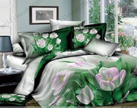 Cheap NEW 500TC Cotton summer green fresh pattern bed skirt bedspread,Queen Full size pink tulip floral bed sheet MYY7732
