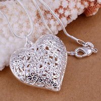 Wholesale Sterling Silver Filled Hollow Flower Heart Locket Vintage Pendant Necklace silver necklace
