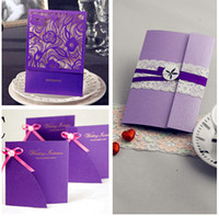 Wholesale Purple colorWedding Invitation Card With Envelopes Lavender Romantic Text Can Be Yourself