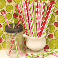 Wholesale high quality colors Chevron Striped and Polka Dot Drinking Paper Straws Colorful Paper Straws