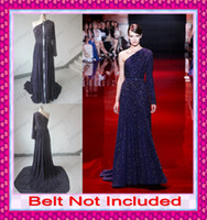 2014 Real Elie Saab Romantic Purple Luxury Shiny Crystal Bea...