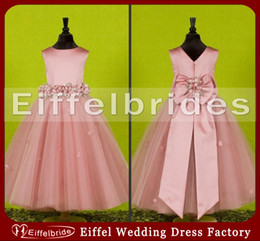 Wholesale Beautiful Jewel Neckline Pink Satin and Tulle Flower Girl Dresses with Big Bowknot on Back