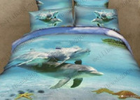 Wholesale Girls Cotton Cute Dolphin Sky Blue Bedding Set Reversible Full Queen Quilt Duvet Cover Comforter Bed in A Bag Sets MYY7733