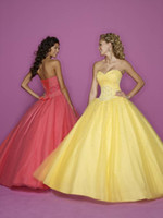 Wholesale 2014 Beautiful Yellow Blue Pink White Prom Dresses Ball Gown Sweetheart Floor Length Sleeveless Quinceanera Gowns Beads Sequins Organza