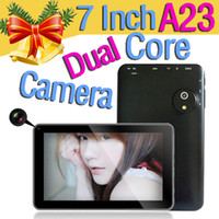 Wholesale Dual core Android Inch A23 Tablet Pc GB MB Allwinner A13 Cortex A8 Ghz Wifi Camera Youtube Flash light Google playstore