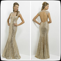 Wholesale Shining Gold Cap Sleeve Crew Sequins Lace Mermaid Special Occasion Prom Dresses Floor Length Formal Women s Party Gowns Hollow Back