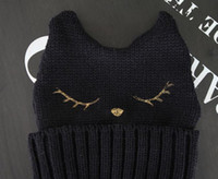Wholesale Devil Horn Beanies Cat Ear Style For Women Black White Color Mix New Arrvial C9