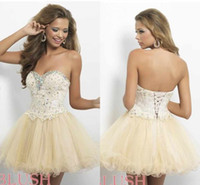 Organza short strapless dress - 2015 Sweetheart Ball Gown Champagne Short Mini Prom Dresses Lace Applique Beaded Homecoming Dress Prom gowns Cheap Dress