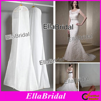Wholesale High Quality In Stock White No Logo Cheap Long Train Wedding Dress Gown Bag Garment Cover Travel Storage Dust Covers with Pouch Pocket Top