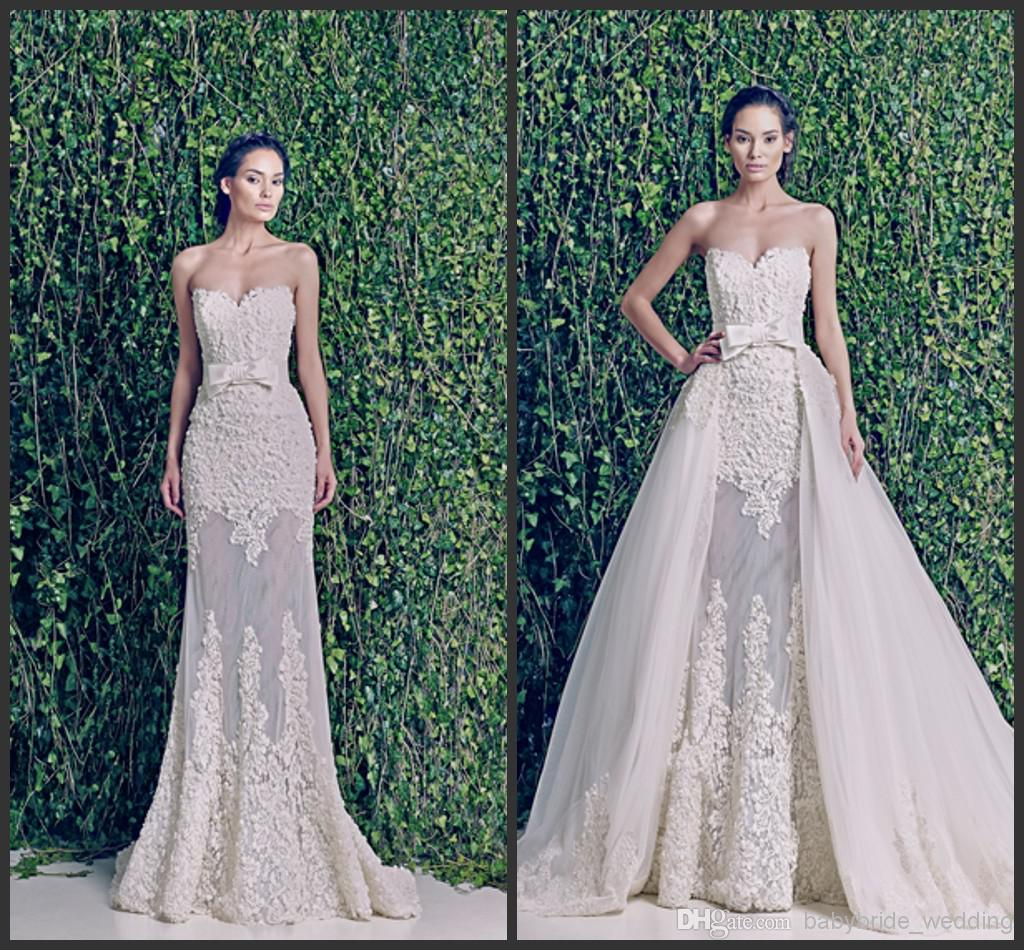 Detachable Train Two Piece Beach Wedding Dresses 2014 Zuhair Murad Martina Sheer Lace And Tulle