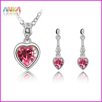 Bracelet,Earrings & Necklace Women's Anniversary free shipping Bridal Crystal Jewelry Set Crystal Earrings+Necklace Evening Dress #83797