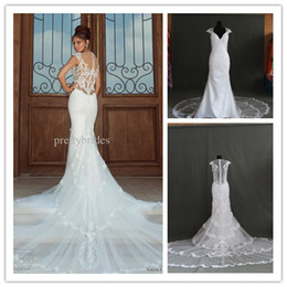Wholesale 2014 Hot New Sexy Mermaid Embroidery Applique Galia Lahav Graceful White ivory lace Wedding Dresses Backless Bridal gown SD1024