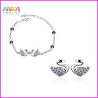 Bracelet,Earrings & Necklace Women's Anniversary free shipping Graceful Crystal Jewelry Set Include Earrings+Necklace Fit For evening dress #83957